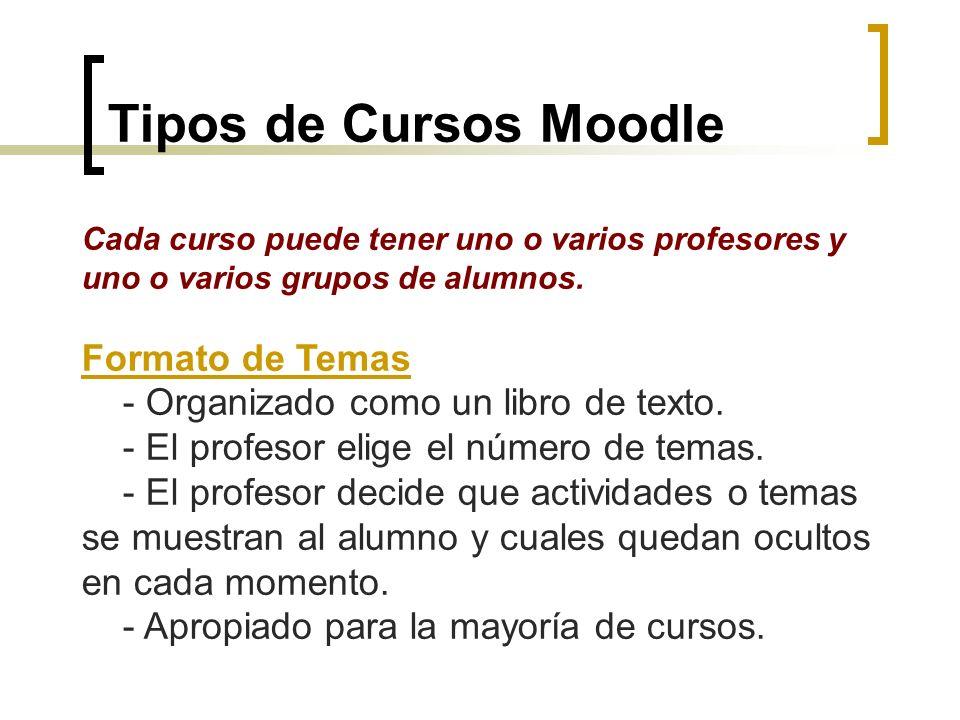 Tipos de Cursos Moodle Cada curso puede tener uno o varios profesores y uno o varios grupos de alumnos. Formato de Temas - Organizado como un libro de