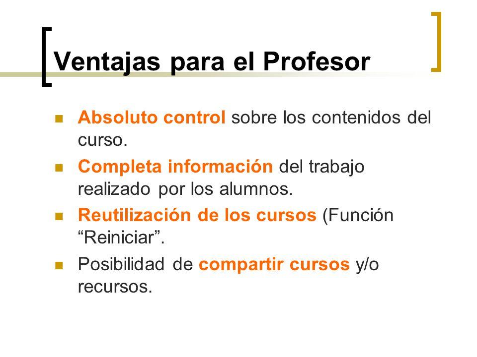 Ventajas para el Profesor Absoluto control sobre los contenidos del curso. Completa información del trabajo realizado por los alumnos. Reutilización d