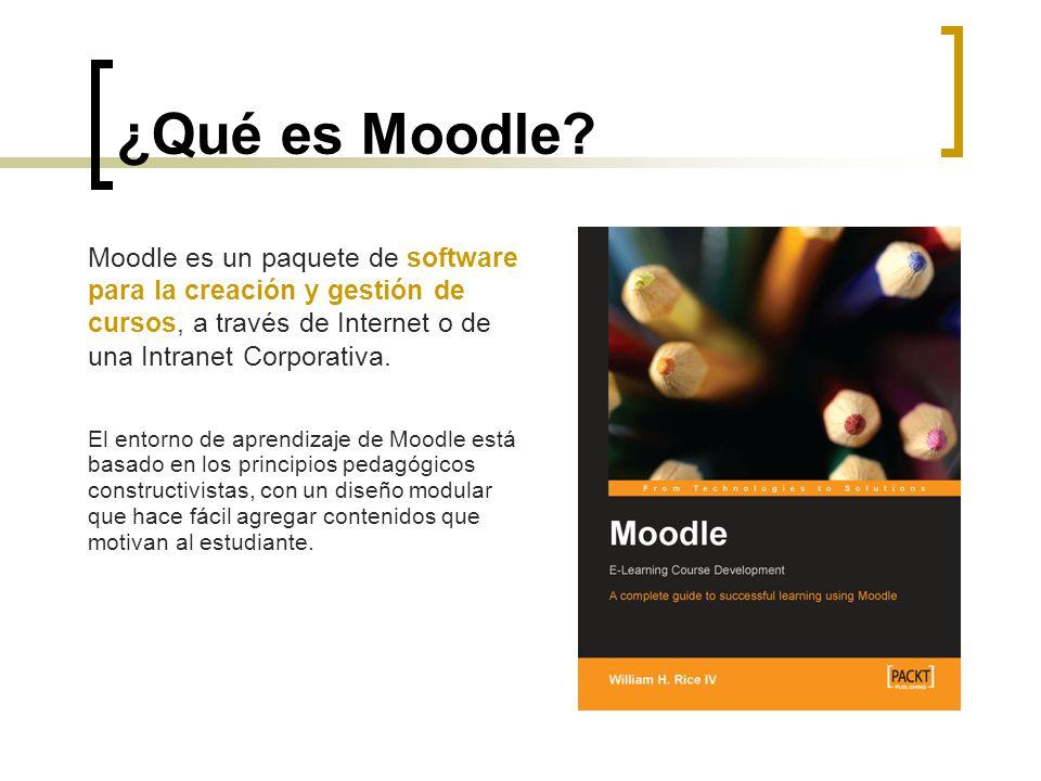 Moodle es un paquete de software para la creación y gestión de cursos, a través de Internet o de una Intranet Corporativa. El entorno de aprendizaje d