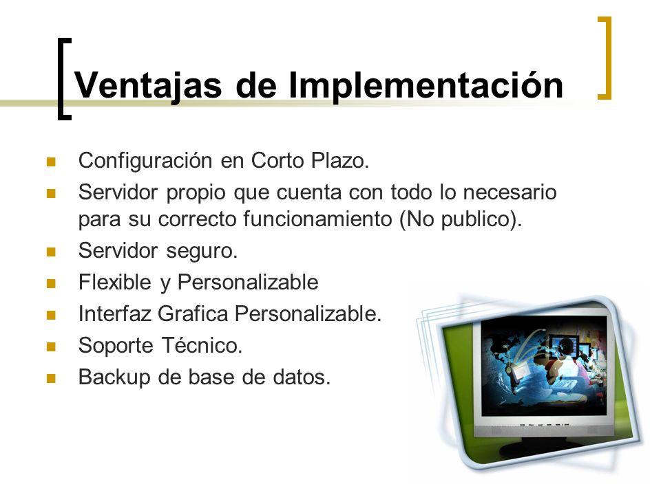 Ventajas de Implementación Configuración en Corto Plazo. Servidor propio que cuenta con todo lo necesario para su correcto funcionamiento (No publico)