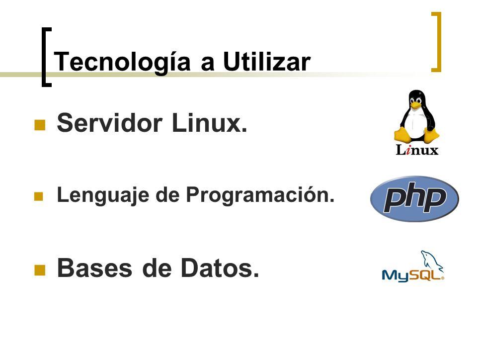 Tecnología a Utilizar Servidor Linux. Lenguaje de Programación. Bases de Datos.