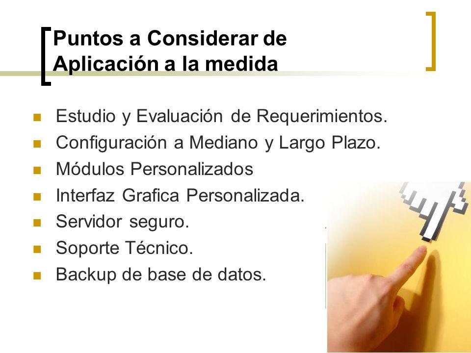 Puntos a Considerar de Aplicación a la medida Estudio y Evaluación de Requerimientos. Configuración a Mediano y Largo Plazo. Módulos Personalizados In