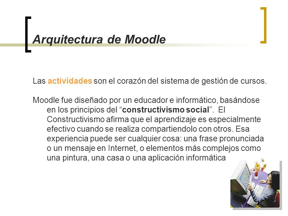 Arquitectura de Moodle Las actividades son el corazón del sistema de gestión de cursos. Moodle fue diseñado por un educador e informático, basándose e