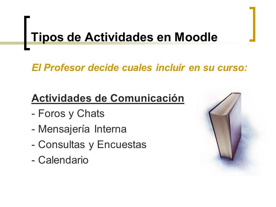 Tipos de Actividades en Moodle El Profesor decide cuales incluir en su curso: Actividades de Comunicación - Foros y Chats - Mensajería Interna - Consu