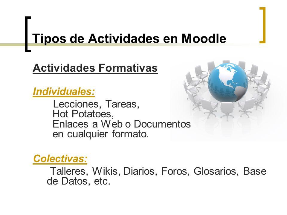 Tipos de Actividades en Moodle Actividades Formativas Individuales: Lecciones, Tareas, Hot Potatoes, Enlaces a Web o Documentos en cualquier formato.