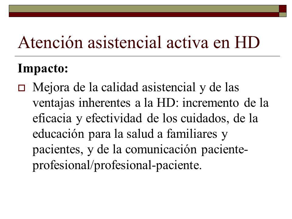 Atención asistencial activa en HD Posibilidad de aumentar de número de pacientes en HD y por lo tanto, reducción presupuestaria por disminución de hospitalizaciones ordinarias.