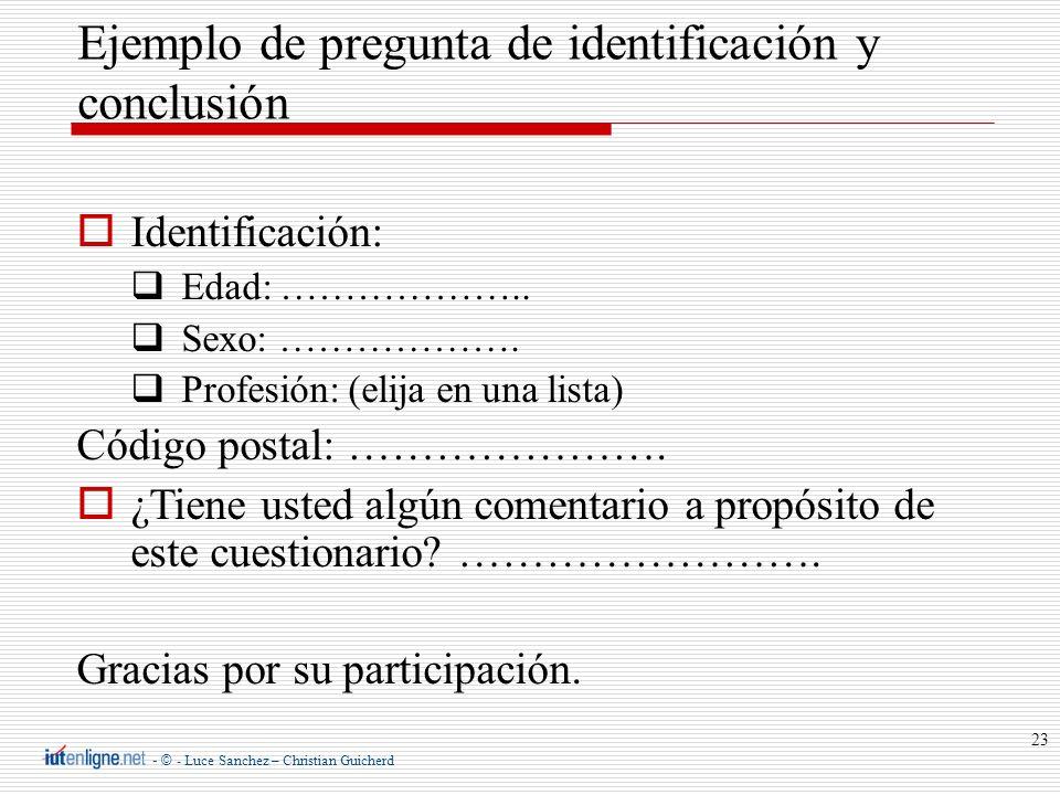 - © - Luce Sanchez – Christian Guicherd 23 Identificación: Edad: ……………….. Sexo: ………………. Profesión: (elija en una lista) Código postal: …………………. ¿Tiene