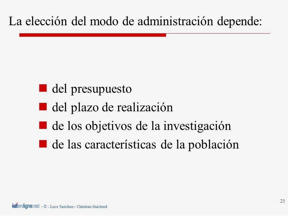 - © - Luce Sanchez – Christian Guicherd 25 La elección del modo de administración depende: del presupuesto del plazo de realización de los objetivos d