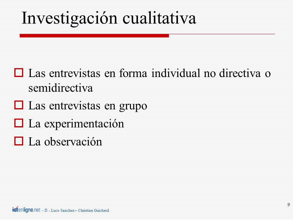 - © - Luce Sanchez – Christian Guicherd 9 Investigación cualitativa Las entrevistas en forma individual no directiva o semidirectiva Las entrevistas e