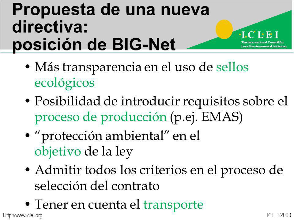 ICLEI 2000 I C L E I The International Council for Local Environmental Initiatives   Propuesta de una nueva directiva: posición de BIG-Net Más transparencia en el uso de sellos ecológicos Posibilidad de introducir requisitos sobre el proceso de producción (p.ej.