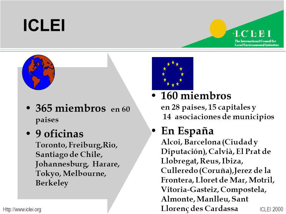 ICLEI 2000 I C L E I The International Council for Local Environmental Initiatives   ICLEI 365 miembros en 60 paises 9 oficinas Toronto, Freiburg,Rio, Santiago de Chile, Johannesburg, Harare, Tokyo, Melbourne, Berkeley 160 miembros en 28 paises, 15 capitales y 14 asociaciones de municipios En España Alcoi, Barcelona (Ciudad y Diputación), Calvià, El Prat de Llobregat, Reus, Ibiza, Culleredo (Coruña),Jerez de la Frontera, Lloret de Mar, Motril, Vitoria-Gasteiz, Compostela, Almonte, Manlleu, Sant Llorenç des Cardassa