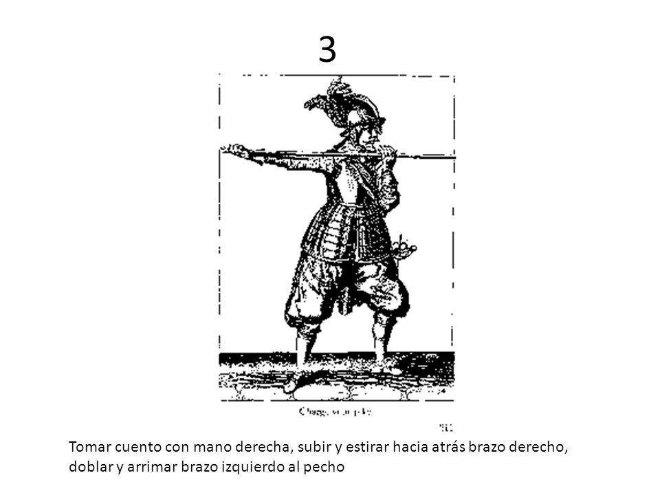 3 Tomar cuento con mano derecha, subir y estirar hacia atrás brazo derecho, doblar y arrimar brazo izquierdo al pecho