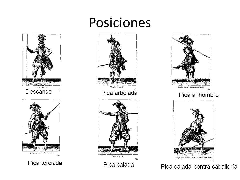 Posiciones Descanso Pica arbolada Pica al hombro Pica terciada Pica calada Pica calada contra caballería