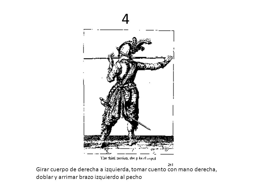 4 Girar cuerpo de derecha a izquierda, tomar cuento con mano derecha, doblar y arrimar brazo izquierdo al pecho