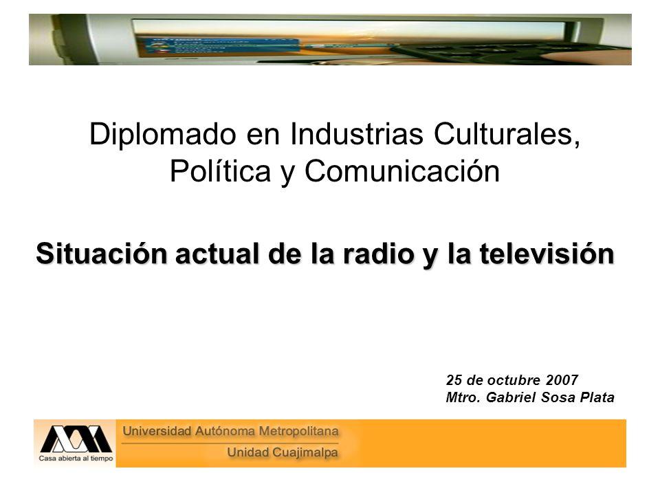 Diplomado en Industrias Culturales, Política y Comunicación Situación actual de la radio y la televisión 25 de octubre 2007 Mtro.