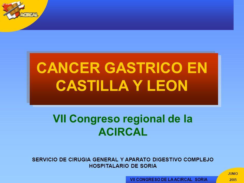 VII CONGRESO DE LA ACIRCAL SORIA JUNIO 2005 CANCER GASTRICO EN CASTILLA Y LEON VII Congreso regional de la ACIRCAL SERVICIO DE CIRUGIA GENERAL Y APARA