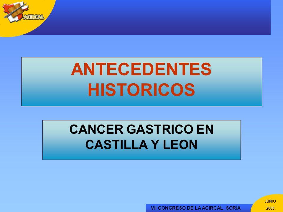 VII CONGRESO DE LA ACIRCAL SORIA JUNIO 2005 FALLECIMIENTOS POR CANCER GASTRICO EN LA MUJER EN LOS AÑOS 70 >20 17-20 14-17 11-14 8-11 5-8 <5 Fallecidos por 100.000 hab.