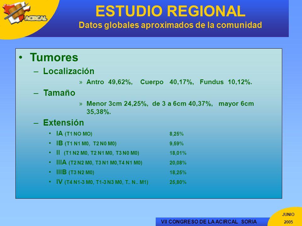 VII CONGRESO DE LA ACIRCAL SORIA JUNIO 2005 ESTUDIO REGIONAL Datos globales aproximados de la comunidad Tumores –Localización »Antro 49,62%, Cuerpo 40