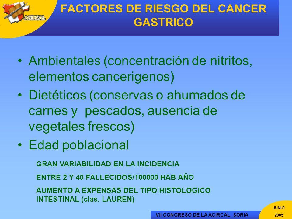 VII CONGRESO DE LA ACIRCAL SORIA JUNIO 2005 FACTORES DE RIESGO DEL CANCER GASTRICO Ambientales (concentración de nitritos, elementos cancerigenos) Die