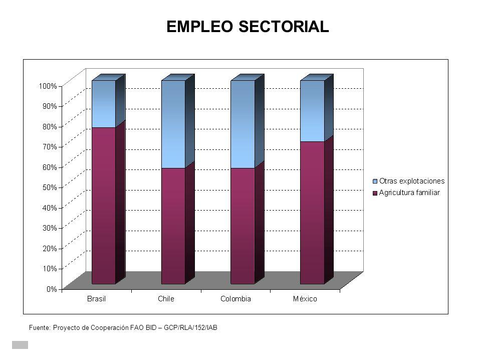 Fuente: Proyecto de Cooperación FAO BID – GCP/RLA/152/IAB EMPLEO SECTORIAL