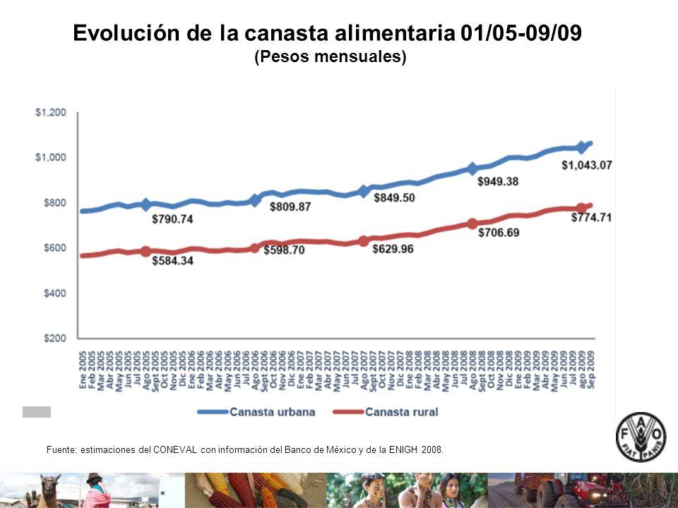 Evolución de la canasta alimentaria 01/05-09/09 (Pesos mensuales) Fuente: estimaciones del CONEVAL con información del Banco de México y de la ENIGH 2