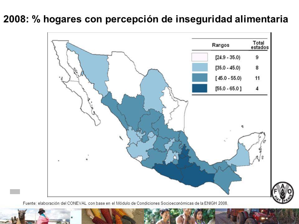 2008: % hogares con percepción de inseguridad alimentaria Fuente: elaboración del CONEVAL con base en el Módulo de Condiciones Socioeconómicas de la E