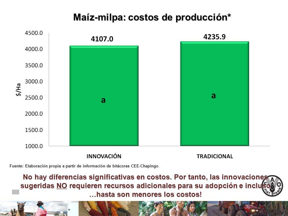 Maíz-milpa: costos de producción* Maíz-milpa: costos de producción* a a Fuente: Elaboración propia a partir de información de bitácoras CEE-Chapingo.