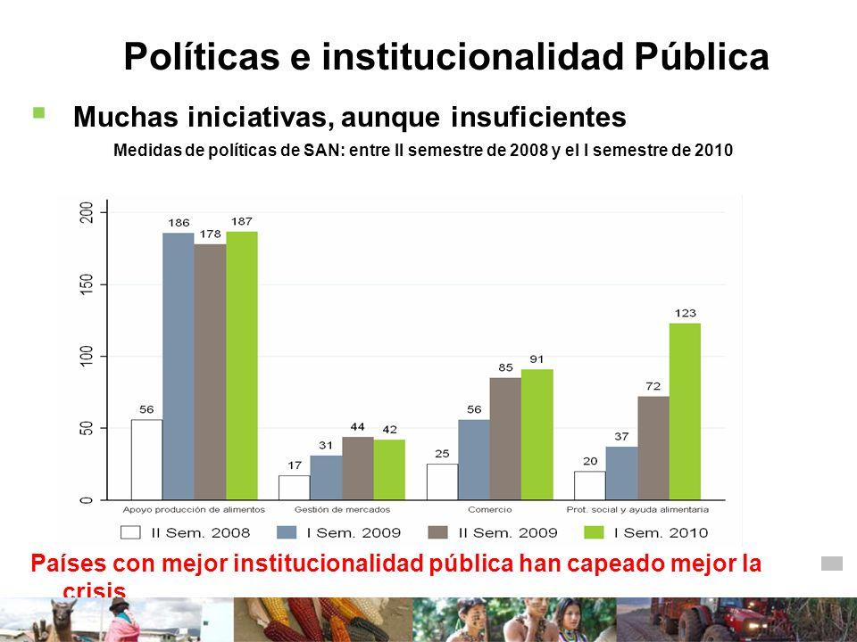 Políticas e institucionalidad Pública Muchas iniciativas, aunque insuficientes Medidas de políticas de SAN: entre II semestre de 2008 y el I semestre