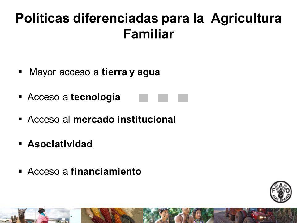 Políticas diferenciadas para la Agricultura Familiar Mayor acceso a tierra y agua Acceso a tecnología Acceso al mercado institucional Asociatividad Ac