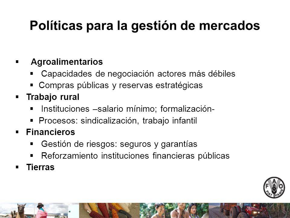 Políticas para la gestión de mercados Agroalimentarios Capacidades de negociación actores más débiles Compras públicas y reservas estratégicas Trabajo