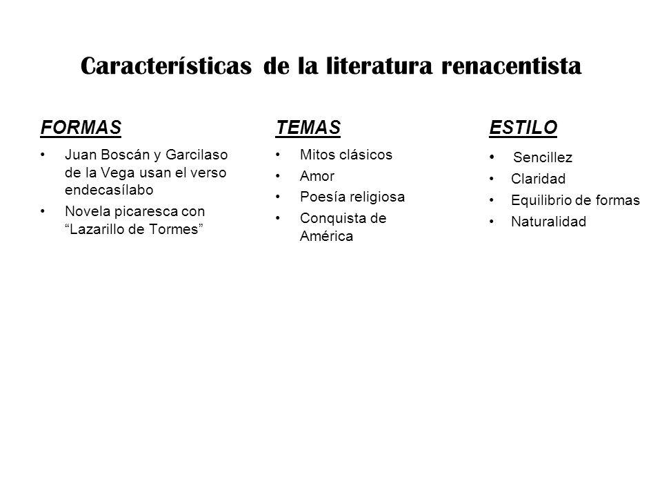 Características de la literatura renacentista FORMAS Juan Boscán y Garcilaso de la Vega usan el verso endecasílabo Novela picaresca con Lazarillo de T