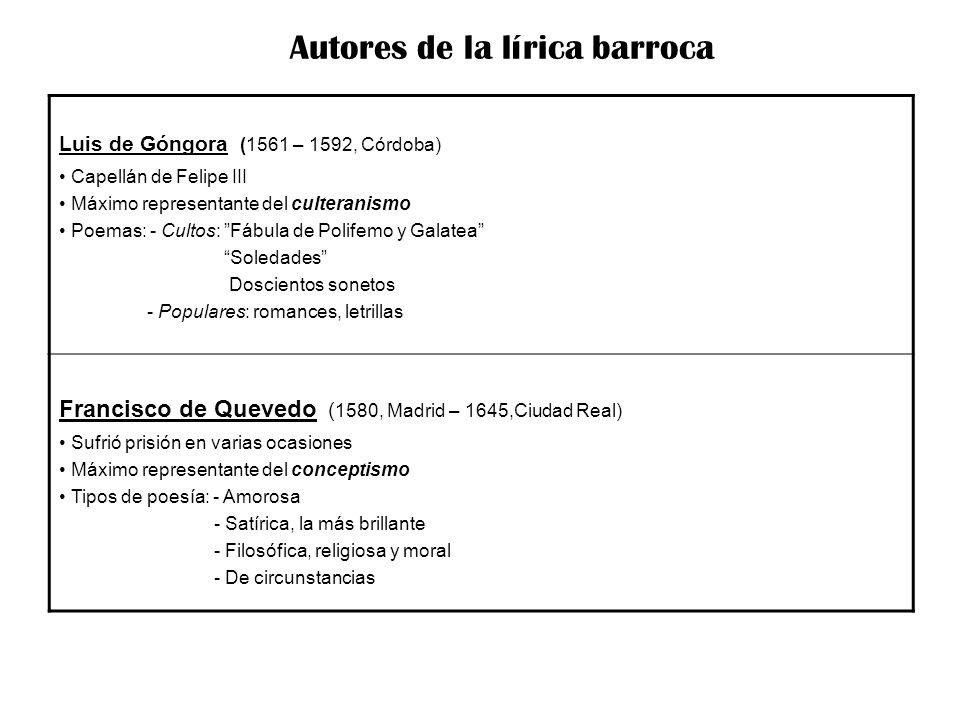 Luis de Góngora (1561 – 1592, Córdoba) Capellán de Felipe III Máximo representante del culteranismo Poemas: - Cultos: Fábula de Polifemo y Galatea Sol