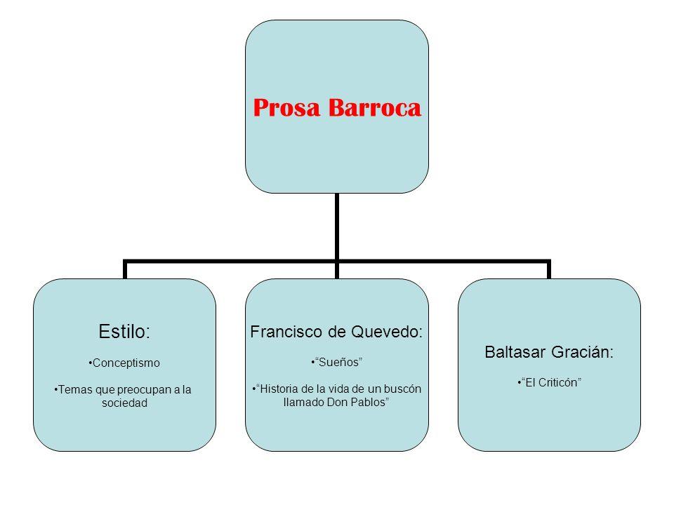 Prosa Barroca Estilo: Conceptismo Temas que preocupan a la sociedad Francisco de Quevedo: Sueños Historia de la vida de un buscón llamado Don Pablos B