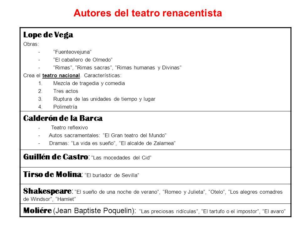 Lope de Vega Obras: -Fuenteovejuna -El caballero de Olmedo -Rimas, Rimas sacras, Rimas humanas y Divinas Crea el teatro nacional. Características: 1.M