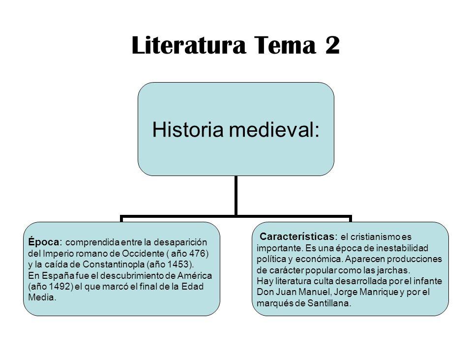 Literatura Tema 2 Historia medieval: Época: comprendida entre la desaparición del Imperio romano de Occidente ( año 476) y la caída de Constantinopla