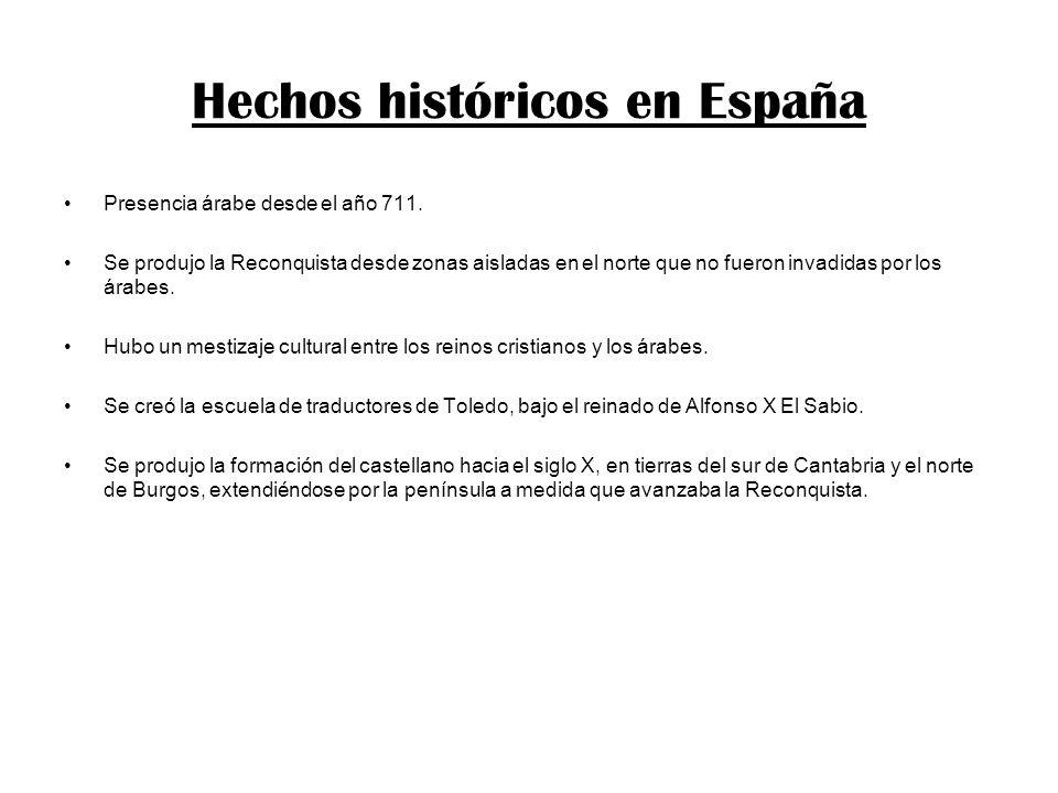 Hechos históricos en España Presencia árabe desde el año 711. Se produjo la Reconquista desde zonas aisladas en el norte que no fueron invadidas por l
