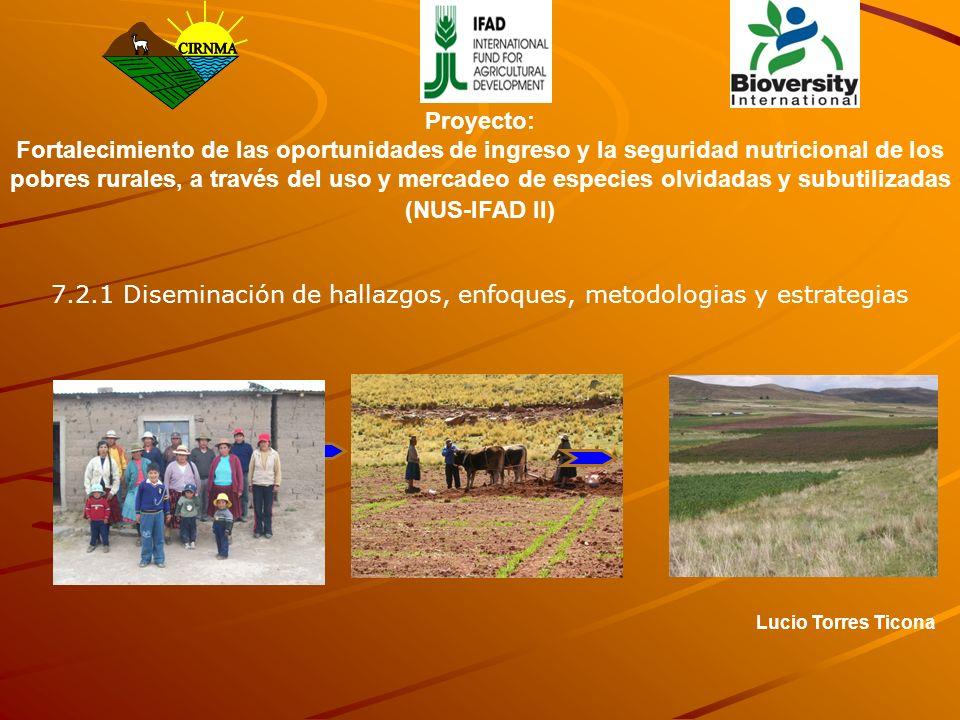 Lucio Torres Ticona Proyecto: Fortalecimiento de las oportunidades de ingreso y la seguridad nutricional de los pobres rurales, a través del uso y mer
