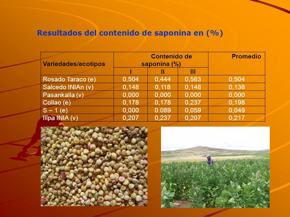 Resultados del contenido de saponina en (%) Variedades/ecotipos Contenido de saponina (%) Promedio IIIIII Rosado Taraco (e)0,5040,4440,5630,504 Salced