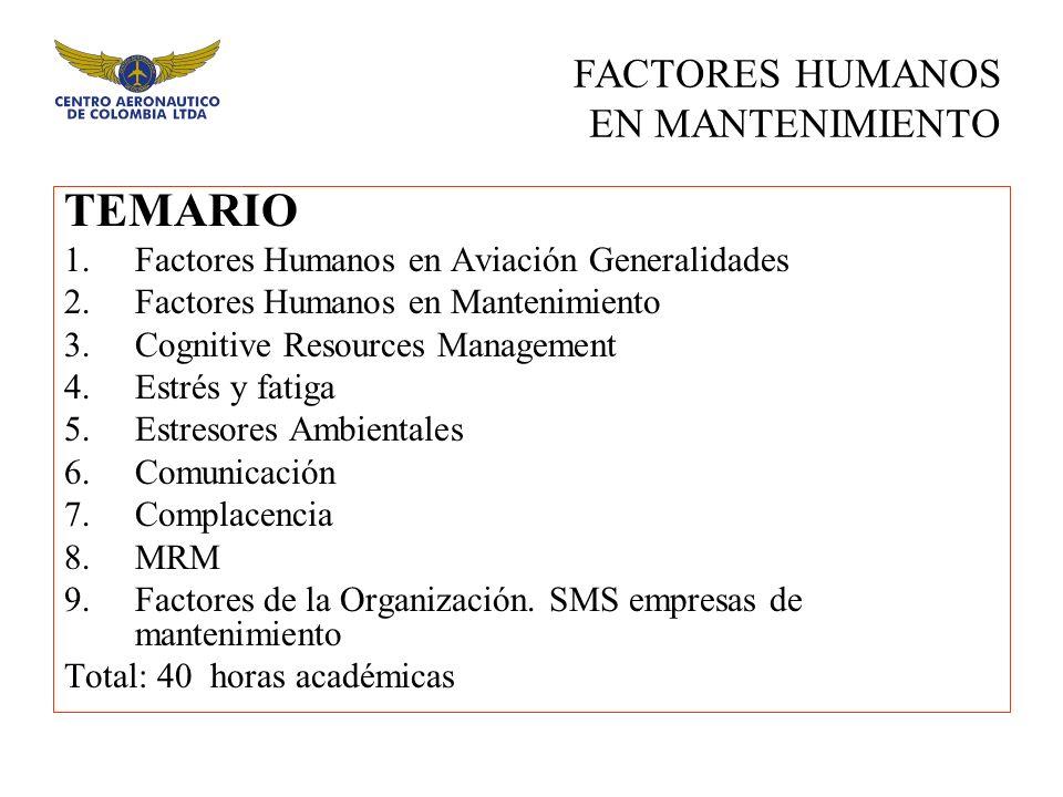 TEMARIO 1.Factores Humanos en Aviación Generalidades 2.Factores Humanos en Mantenimiento 3.Cognitive Resources Management 4.Estrés y fatiga 5.Estresor