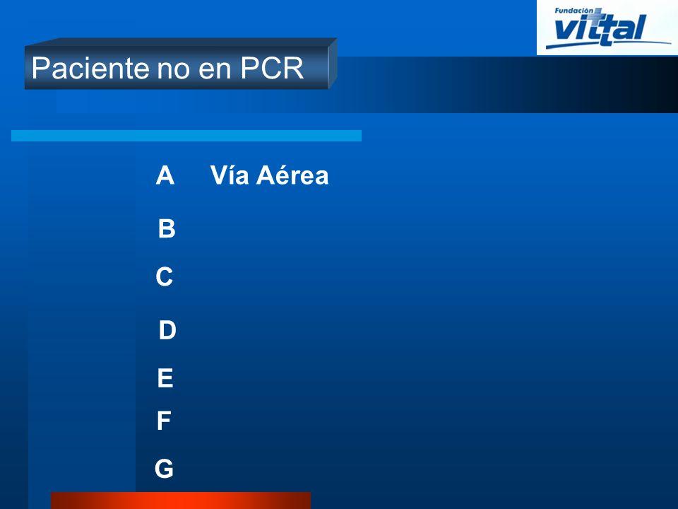 Paciente no en PCR A B C D E Vía Aérea F G