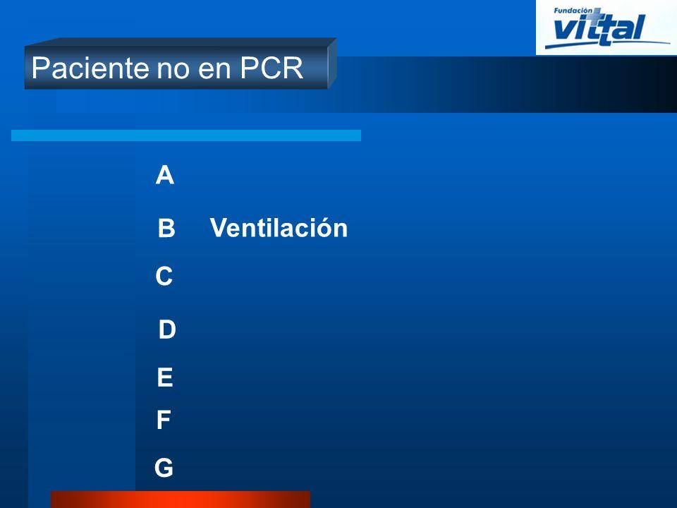 Paciente no en PCR A B C D E Ventilación F G