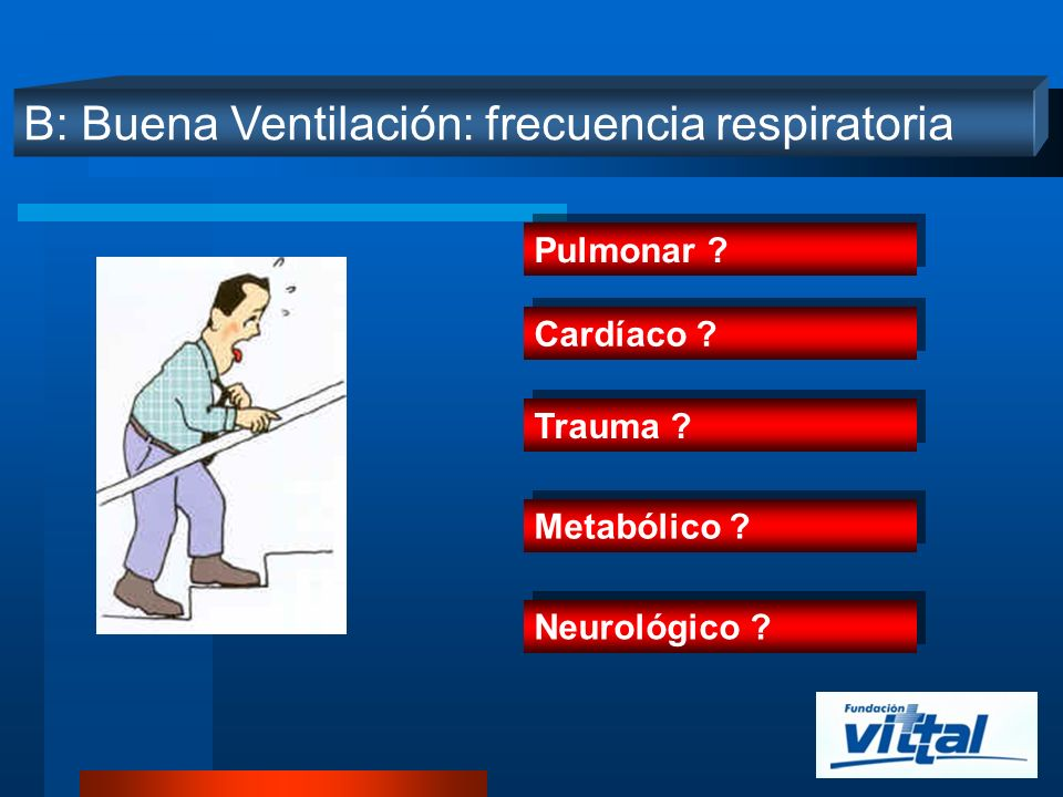 B: Buena Ventilación: frecuencia respiratoria Pulmonar ? Cardíaco ? Trauma ? Metabólico ? Neurológico ?