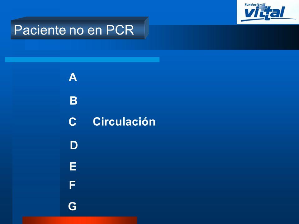 Paciente no en PCR A B C D E Circulación F G
