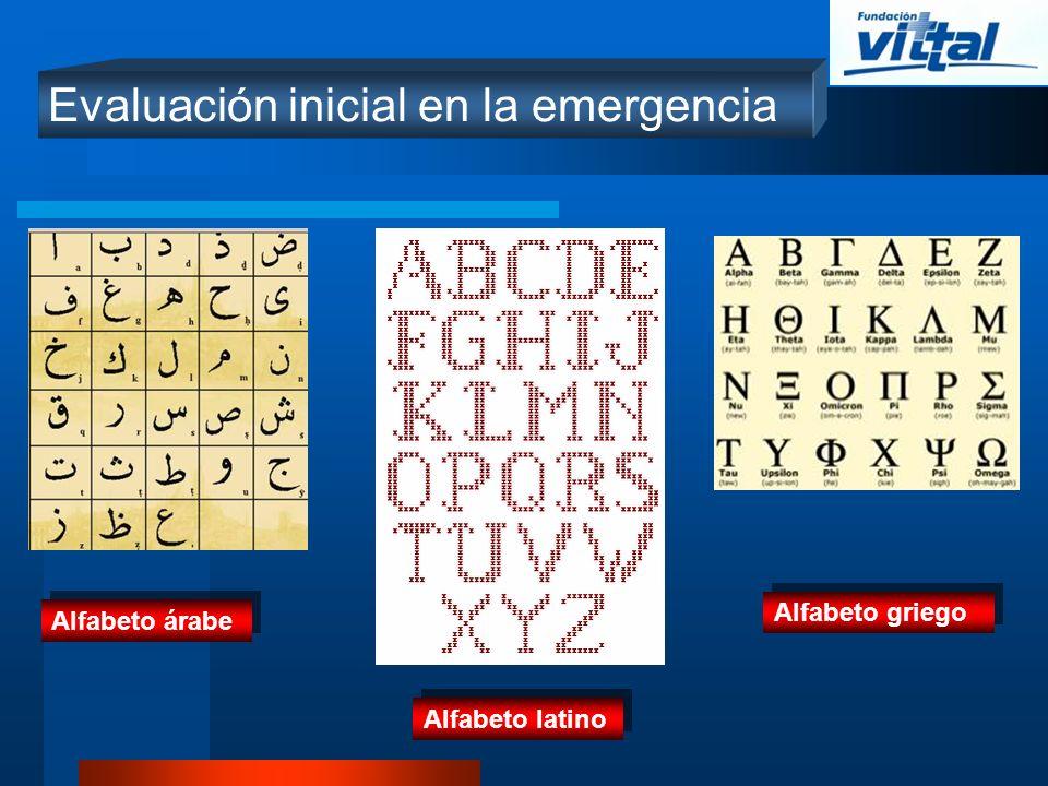 Evaluación inicial en la emergencia Alfabeto árabe Alfabeto latino Alfabeto griego
