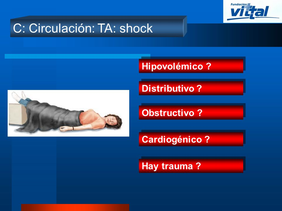 C: Circulación: TA: shock Hipovolémico ? Distributivo ? Obstructivo ? Cardiogénico ? Hay trauma ?
