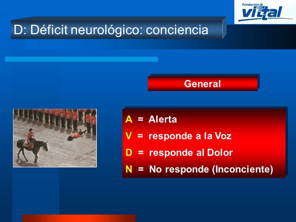 D: Déficit neurológico: conciencia General A = Alerta V = responde a la Voz D = responde al Dolor N = No responde (Inconciente) A = Alerta V = respond