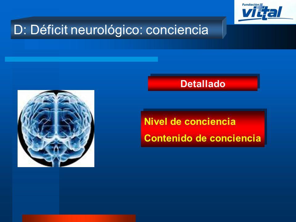 D: Déficit neurológico: conciencia Detallado Nivel de conciencia Contenido de conciencia Nivel de conciencia Contenido de conciencia