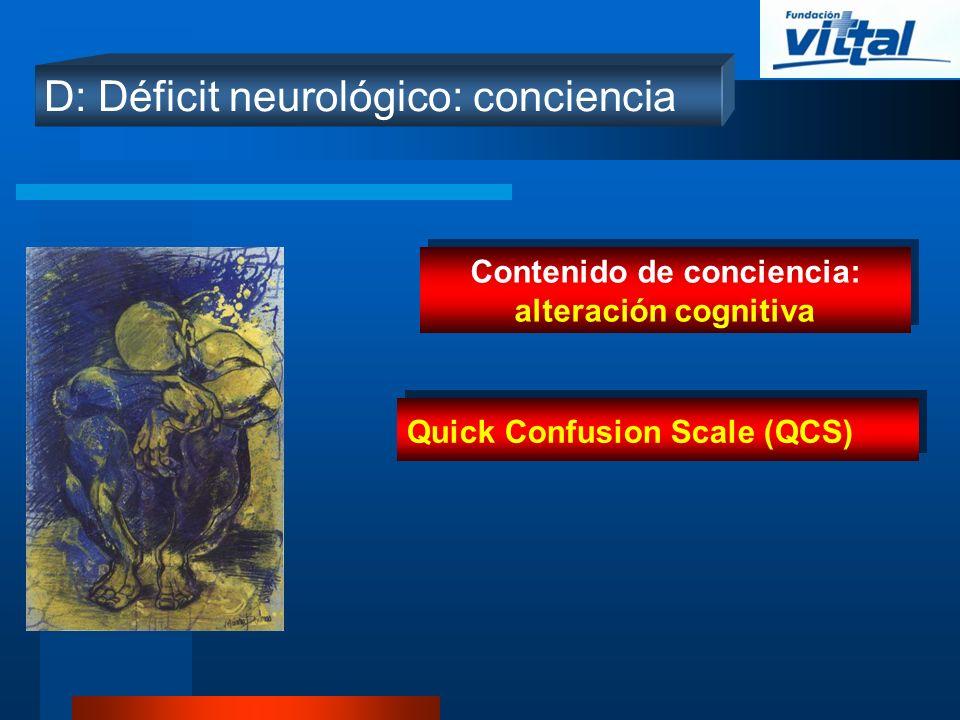 D: Déficit neurológico: conciencia Contenido de conciencia: alteración cognitiva Quick Confusion Scale (QCS)