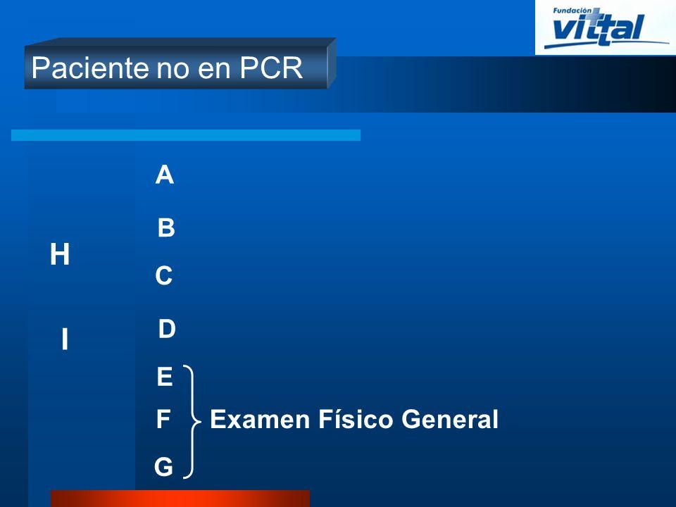 Paciente no en PCR A B C D E Examen Físico GeneralF G I H