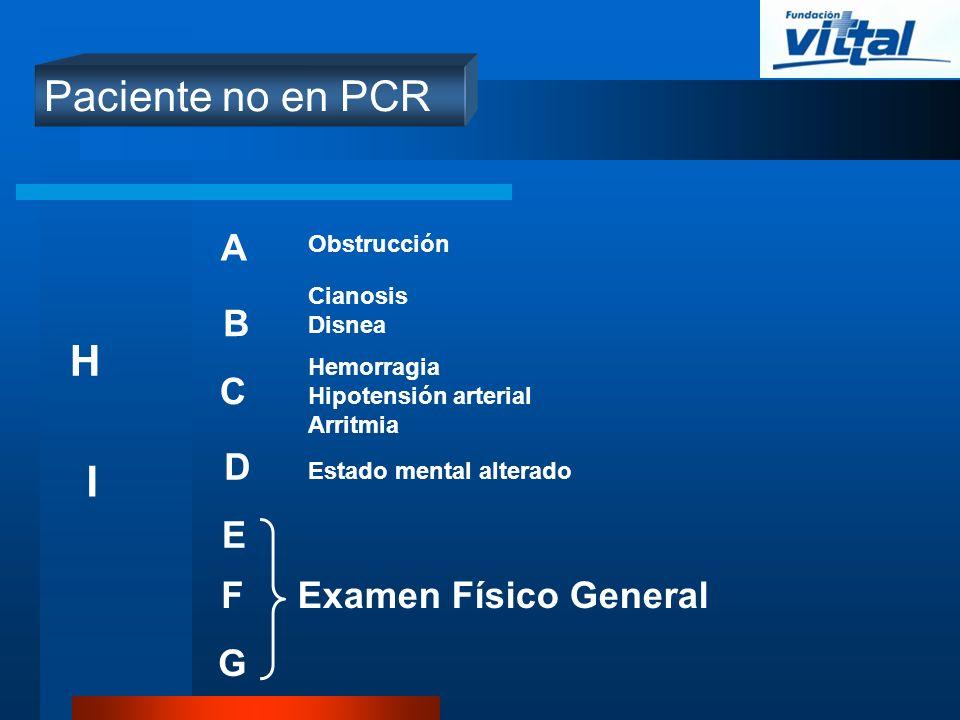 Paciente no en PCR A B C D E Examen Físico GeneralF G I H Obstrucción Hemorragia Hipotensión arterial Arritmia Cianosis Disnea Estado mental alterado